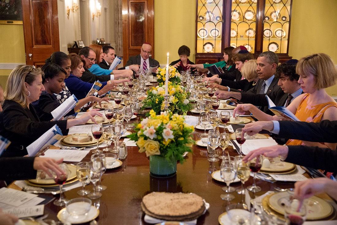 President Obama White House Passover Dinner; seder plate