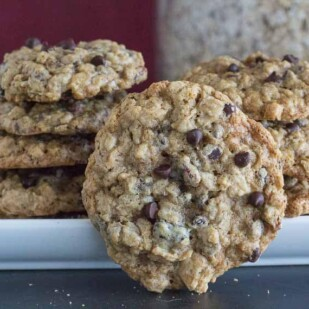 oatmeal chocolate chip cookie, standing on end
