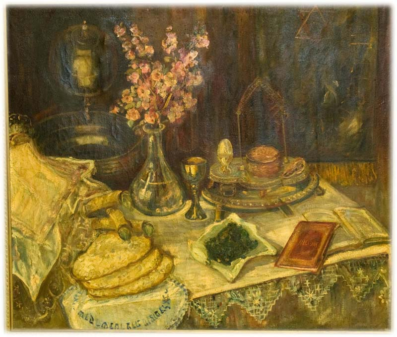 Oil painting depicting a Passover Seder table with matzoh laying on a table cloth next to a vase of flowers