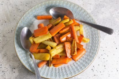 maple glazed carrots & parsnips in pan