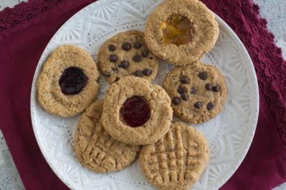 low FODMAP vegan peanut butter cookies on a white plate