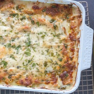 Chicken & Spinach Lasagna Bake, overhead shot on cooling rack