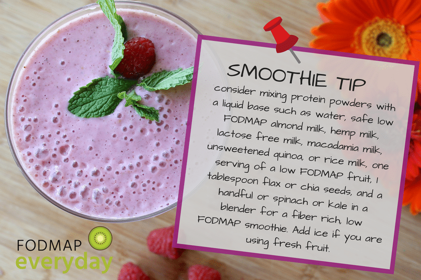 Overhead of a purple smoothie with mint leaves and a raspberry with text describing a smoothie tip about protein powders