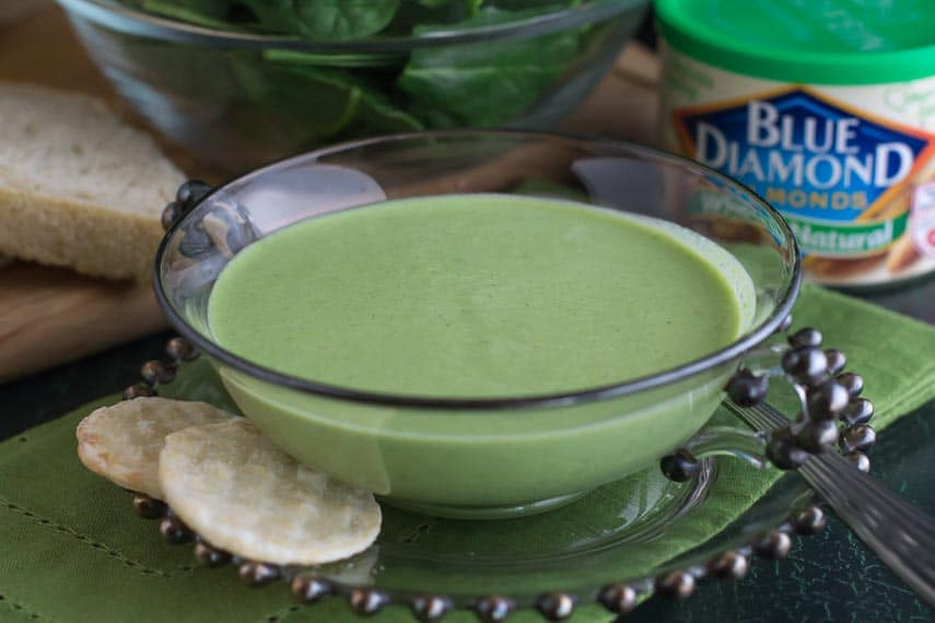 image of cucumber gazpacho with Blue Diamond almonds in background