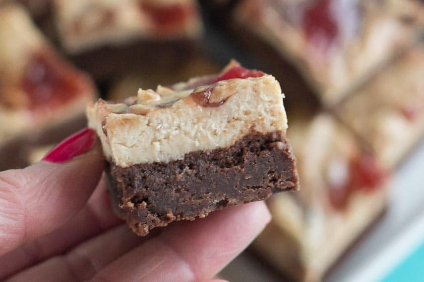 PB & J Cream Cheese Brownies showing the layersCR2