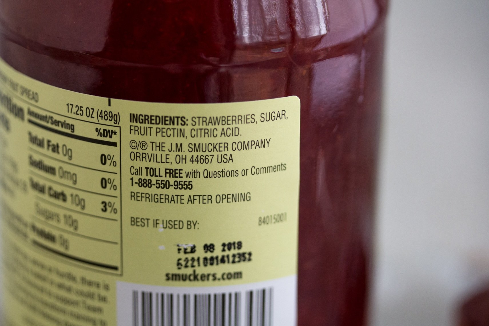 Smucker's Natural Strawberry Fruit Spread Ingredient label