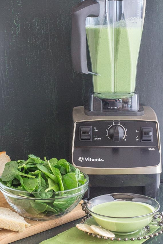 Vitamix blender with cucumber gazpacho and ingredients alongside