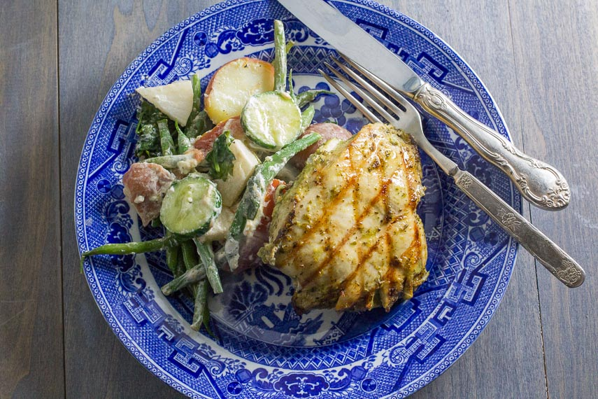 Pair chicken with a big salad or alongside a creamy coleslaw for a summer picnic meal.