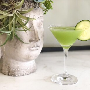 cucumber wasabi gimlet in martini glass with cucumber slice on the rim