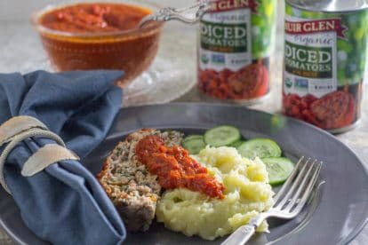 roasted red pepper ketchup with turkey meatloaf and mashed potatoes