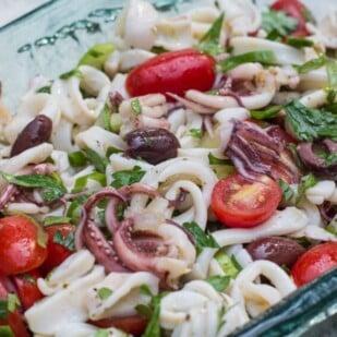 Calamari Salad in a glass dish