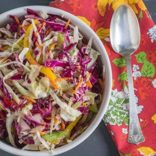 Light & Crunchy Carolina Coleslaw in a white bowl with serving spoon alongside