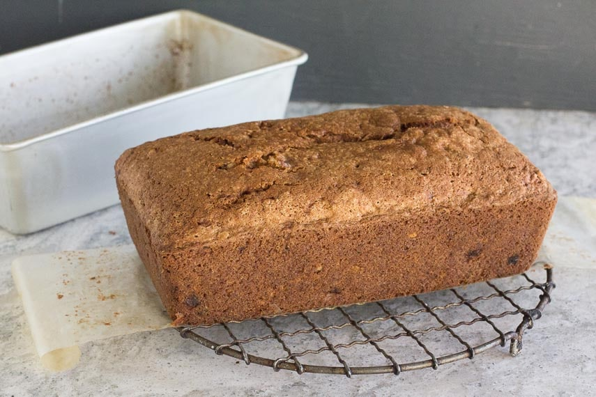 FODMAP IT Nana's banana bread unmolded from loaf pan on cooling rack