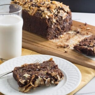 chocolate coconut banana bread in pan showing off its decadent coconut chocolate topping