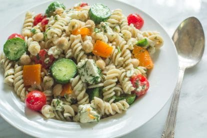 Fusilli Pasta Salad with Chickpeas & Feta in a white bowl