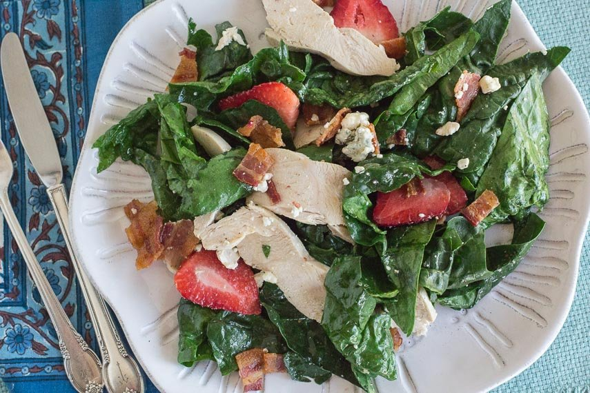 Spinach Salad with Hot Bacon Dressing, Chicken, Blue Cheese & Strawberries