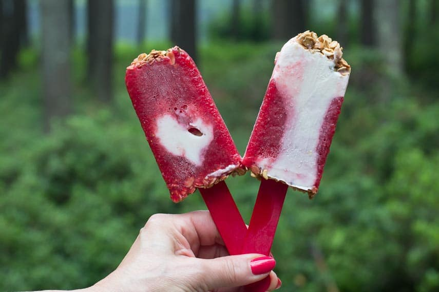 strawberry yogurt granola popsicles using Gingersnap Granola for crunch
