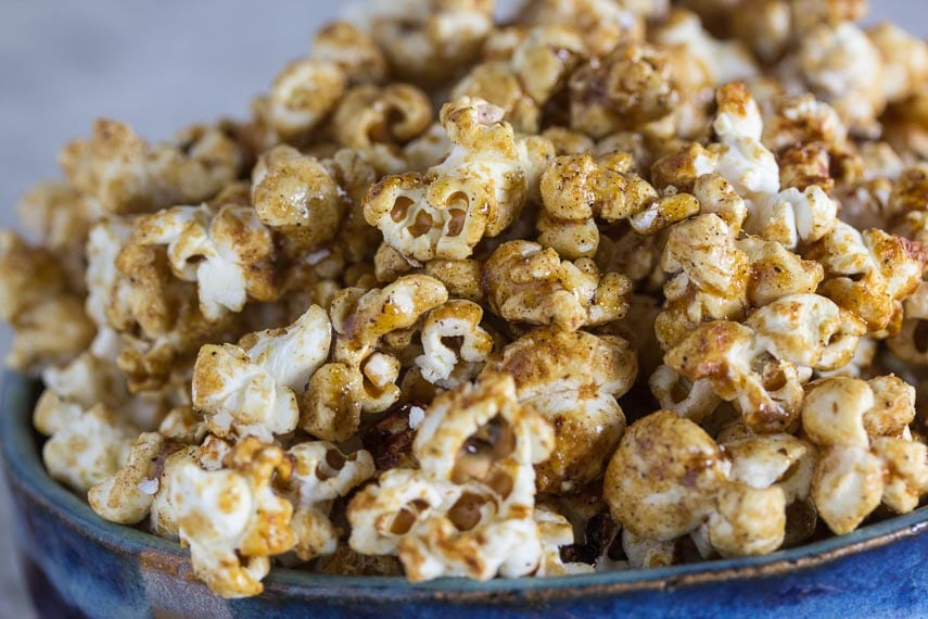 sweet n spicy kettle corn in a blue bowl