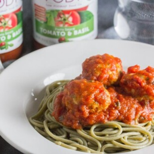FODY Pasta Sauce & Turkey Meatballs on spaghetti in a white bowl