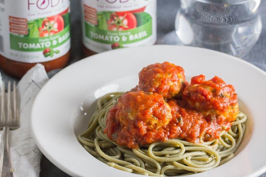 FODY Pasta Sauce & Turkey Meatballs on spaghetti in a white bowl