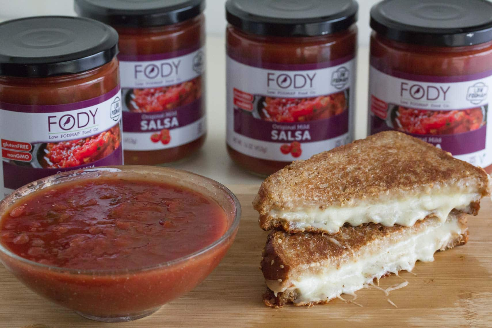 FODY salsa with grilled cheese