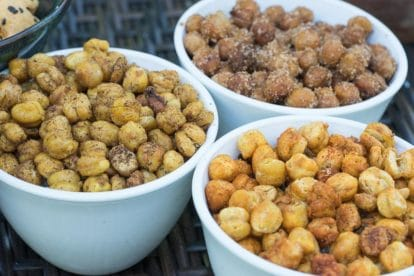 roasted chickpeas on outdoor table in 3 white bowls