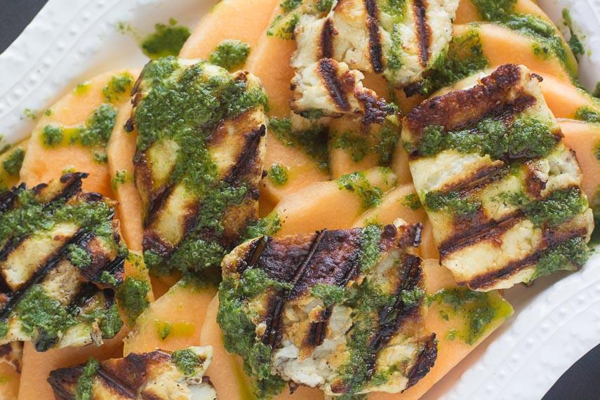 grilled halloumi salad with melon