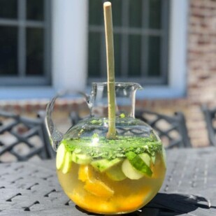 sangria in pitcher on outdoor table