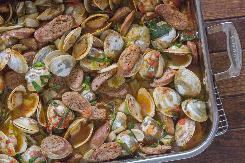 roast Clams & spicy sausages in roasting pan