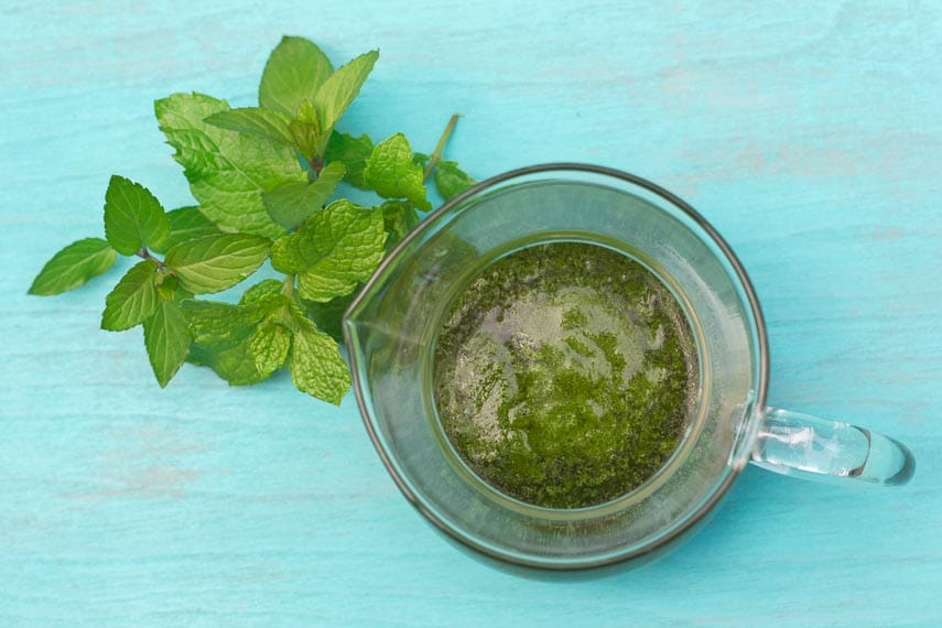 low FODMAP Mint Salsa verde in clear pitcher with fresh mint alongside