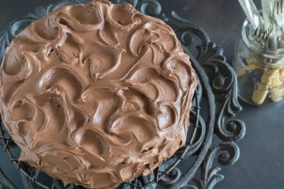 low FODMAP chocolate frosting on cake