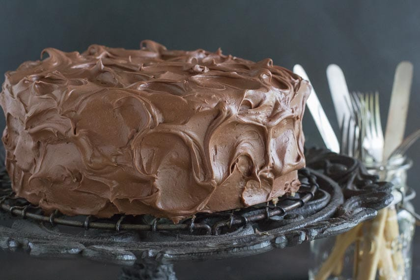 low FODMAP chocolate frosting on cake on pedestal