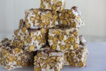 closeup of Chocolate Toasted Marshmallow Treats on white background