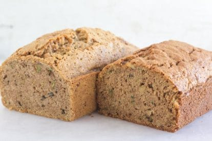 loaves of Zucchini bread on a white surface