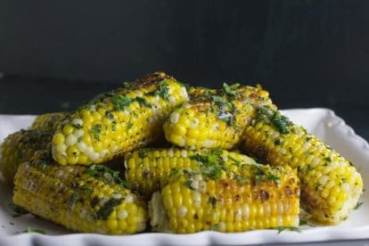 low FODMAP grilled corn with garlic herb Butter