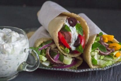 low FODMAP lamb gyros with feta tzatziki sauce