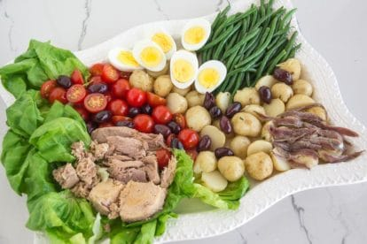 low FODMAP salade nicoise on rectangular white platter