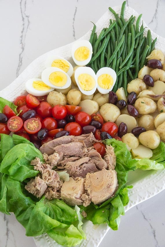 vertical image of low FODMAP salad nicoise