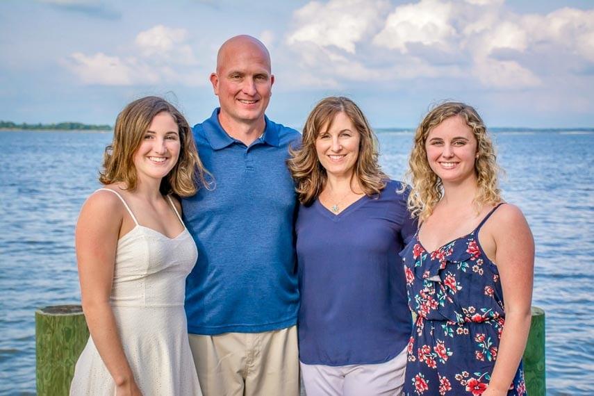 Jordan Faith (left) and family