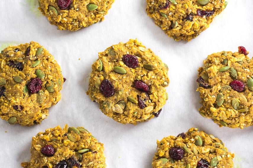 Low FODMAP Pumpkin Cranberry Oat Breakfast Cookies on pan lined with parchment paper