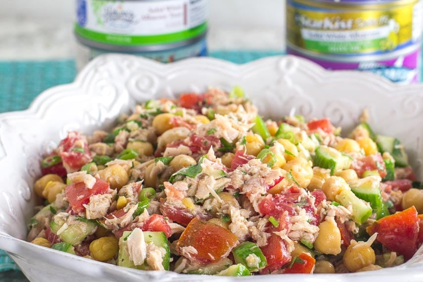 There is more to tuna salads than mayo! Check out our recipe for Low FODMAP Mediterranean Tuna Salad with Chickpeas