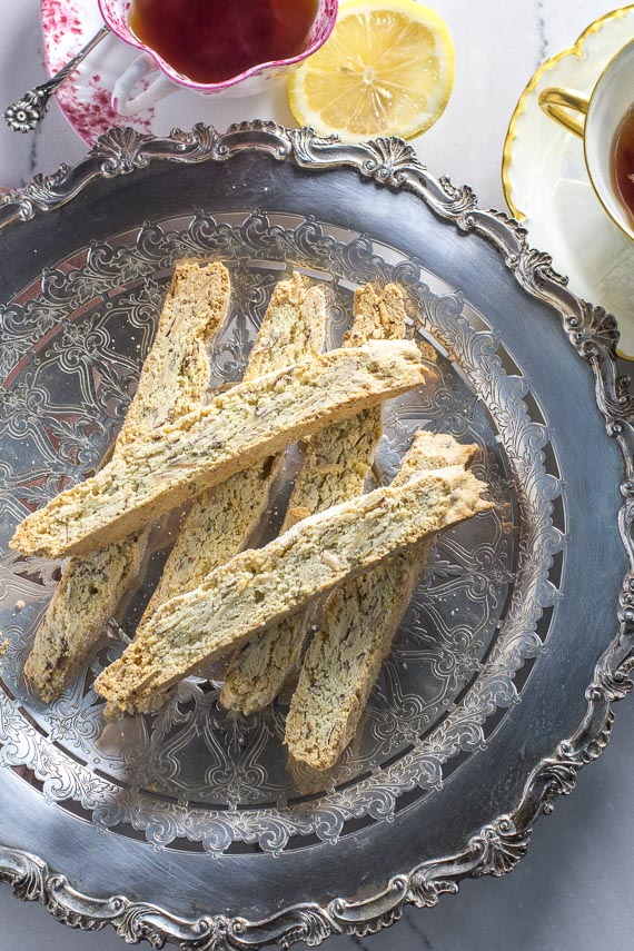 low FODMAP anise almond biscotti on a silver plate