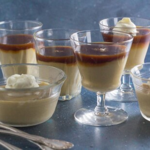 butterscotch pudding with spoons alongside