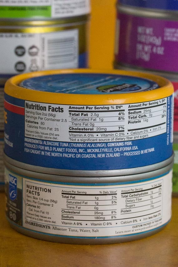 canned tuna labels up close