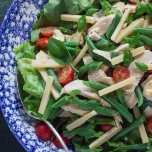 chicken salad with Gruyere, Green Beans, Tomatoes & Basil in a blue and white bowl-2