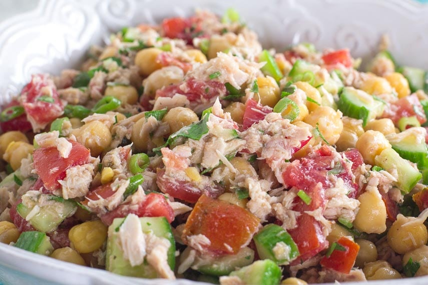 closeup image of Low FODMAP Mediterranean Tuna Salad with Chickpeas in white bowl