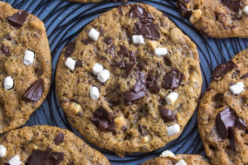 closeup low FODMAP S'more chocolate chunk cookie on black wire rack
