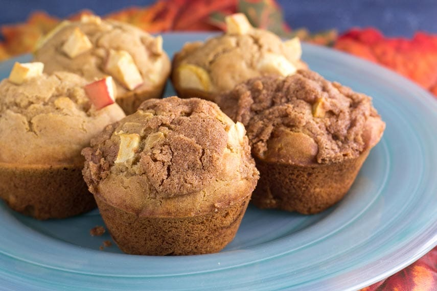 closeup low FODMAP apple muffins on aqua plate