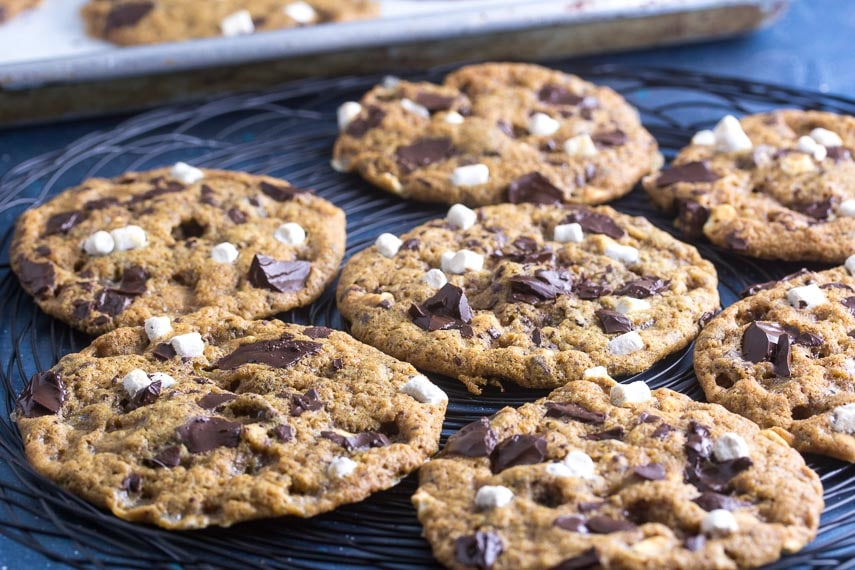 low FODMAP S'more chocolate chunk cookies on black wire rack