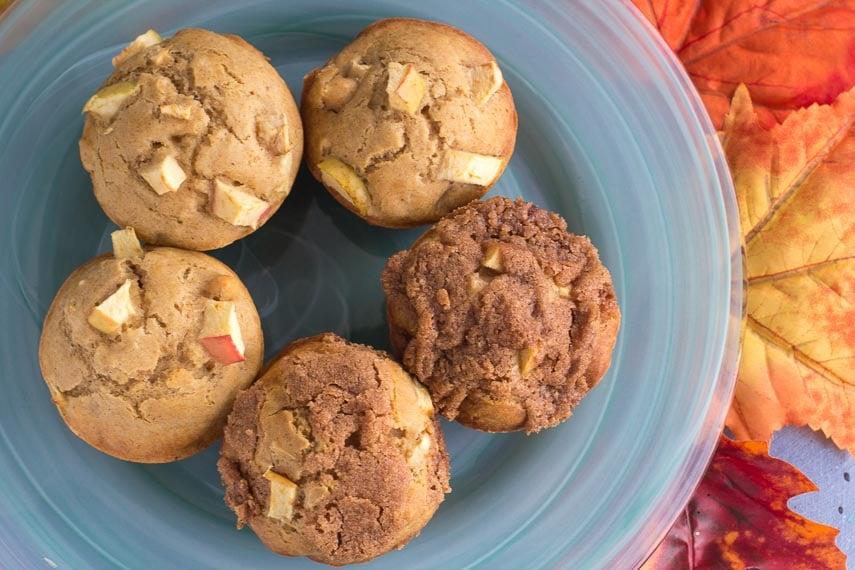low fodmap apple muffins on an aqua plate